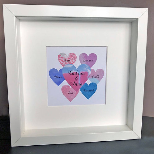Personalised Marble Effect Love Hearts Print