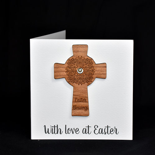 Easter card with cherry-wood Celtic Cross decoration. Can be personalised.