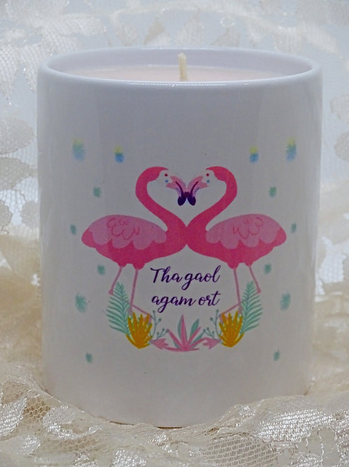 Personalised Flamingo Ceramic Candle Holder with Hand Poured Candle