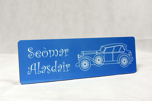 Personalised Classic Car Room Sign in Scottish Gaelic