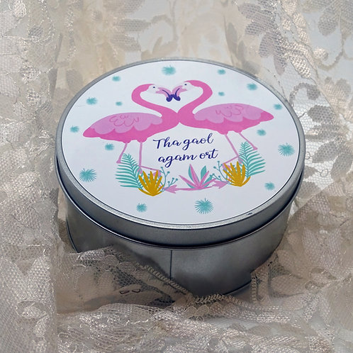 Personalised Flamingo Couple Tin