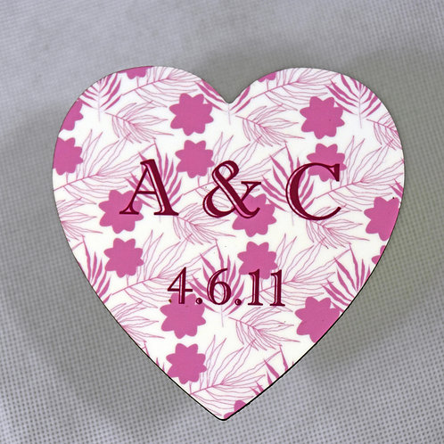 Personalised Floral Anniversary or Wedding Cork-backed Coaster