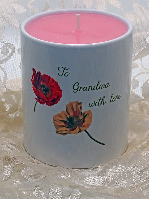 Personalised Poppies Ceramic Candle Holder with Hand Poured Soy Candle