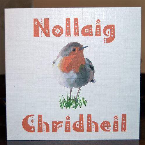 Scottish Gaelic Robin Christmas Card