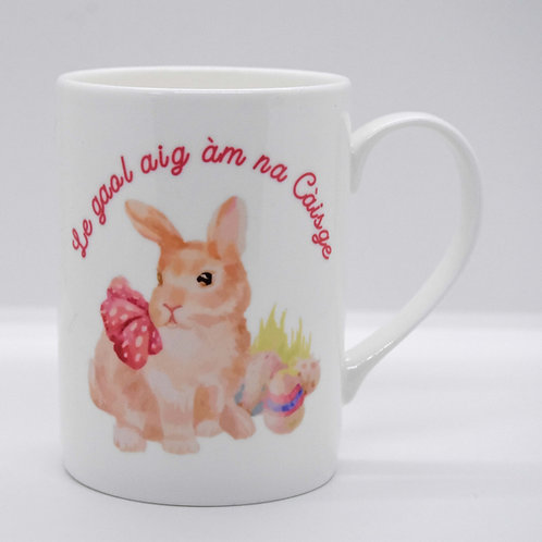Scottish Gaelic Bone China Easter Bunny Mug. Can be personalised.