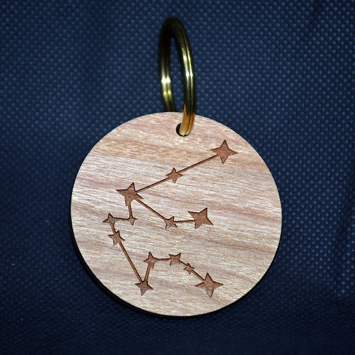 Wood & Brass Star Sign Keyring - Constellation & characteristics