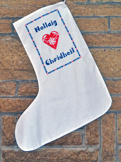 Scandinavian Style Christmas Stocking in Scottish Gaelic