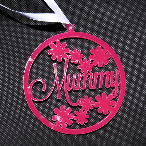 Pink Perspex Mother's Day Decoration - flowers & Mummy