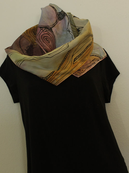 Silk jewel tone abstract scarf
