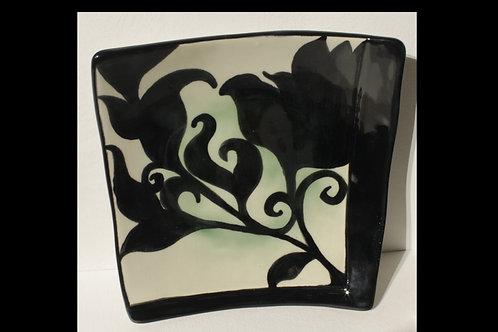 Black Floral Squared Bowls(set of 3)