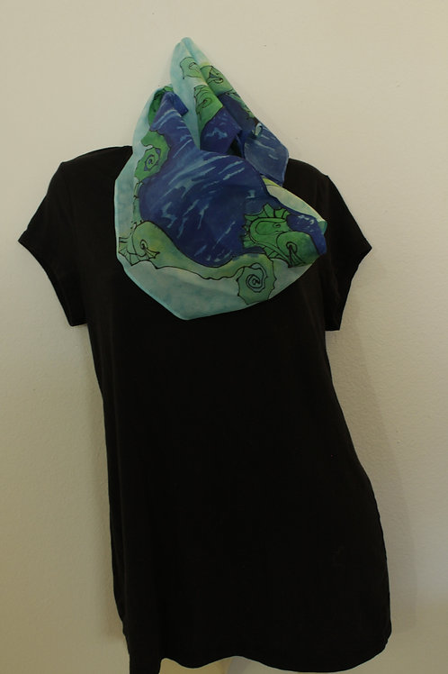 Small seahorse pattern silk scarf