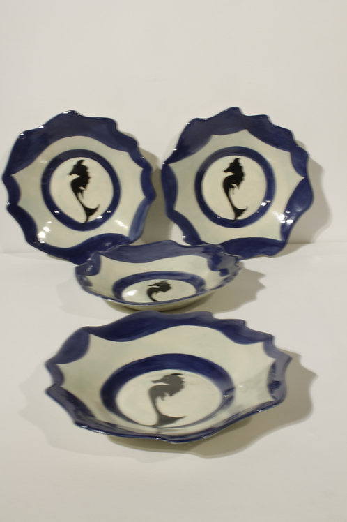 Seahorse silhouettes bowls (set of 4)