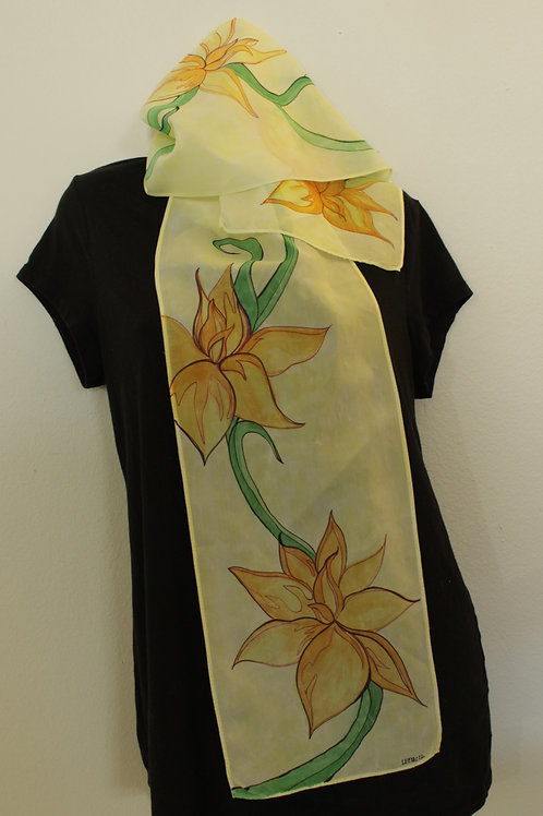 Floral Silk Scarf - Tangerine and pale lemon