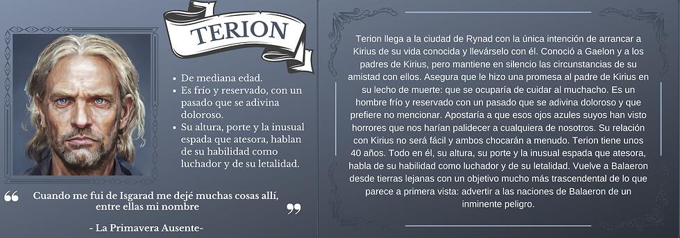 Ficha personaje Terion el trastorno de Elaranne saga de literatura fantasía épica