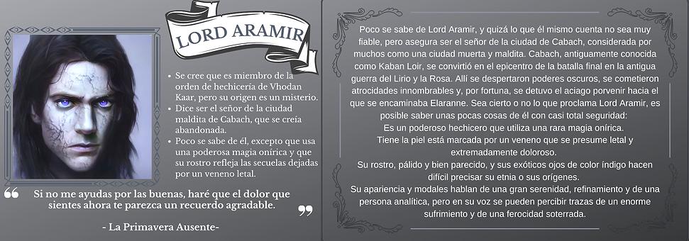 Ficha personaje Lord Aramir el trastorno de Elaranne saga de literatura fantasía épica