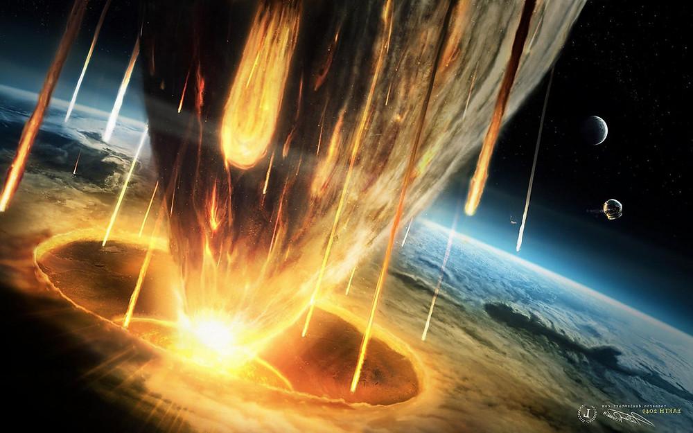 Un enorme meteorito impactando en un planeta