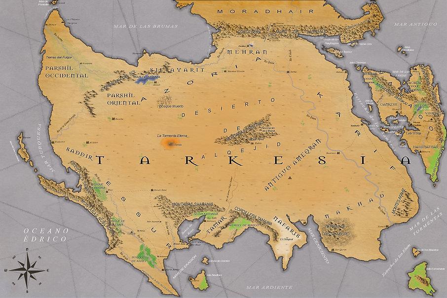 Mapa de Tarkesia. Tierras deserticas, en el centro el Desierto de Alguejid.
