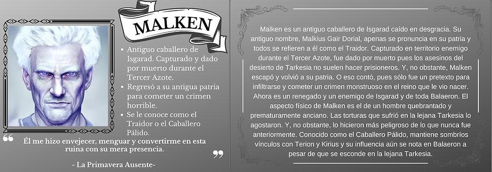 Ficha personaje Malken el trastorno de Elaranne saga de literatura fantasía épica
