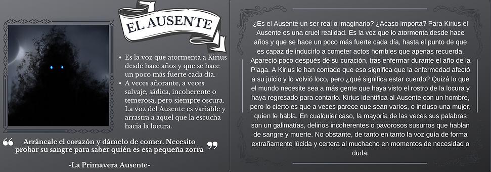 Ficha personaje El Ausente el trastorno de Elaranne saga de literatura fantasía épica