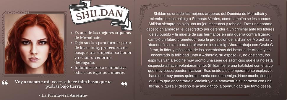 Ficha personaje Shildan el trastorno de Elaranne saga de literatura fantasía épica