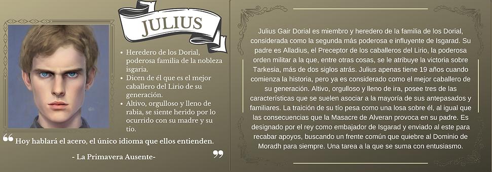 Ficha personaje Julius el trastorno de Elaranne saga de literatura fantasía épica