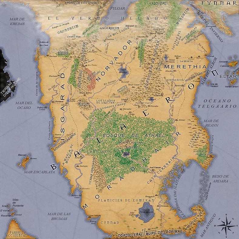 Mapa del continente de Balaeron. En el centro del territorio se encuentra el Bosque de Athael y en medio el el Lago de Plata. Sobre el bosue de Izq a der Isgarad, Norvador y Merthia. Bajo el bosque Moradhair