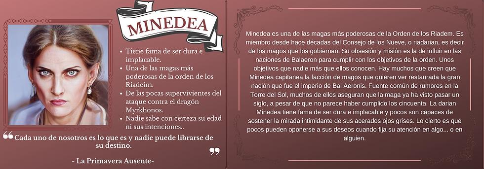 Ficha personaje Minedea el trastorno de Elaranne saga de literatura fantasía épica