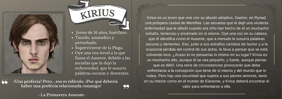 Ficha personaje Kirius el trastorno de Elaranne saga de literatura fantasía épica