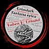 Logo de Rubén H.Ernand un circulo en tonos rojo,negro y gris. En el se leen palabras como Grimdark, fantasía épica, amor, sangre, miedo, pode. En el centro el cráneo de un dragón.