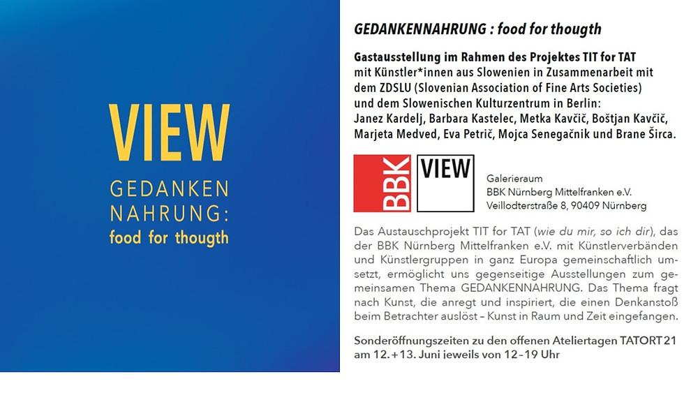 Gedankennahrung: food for thought, at the Galerieraum BBK Nürnberg Mittelfranken e.V.:
