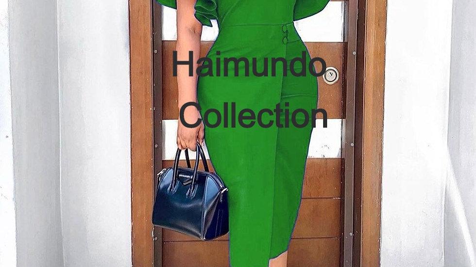 Élégant bleu moulante femmes robe d'été à volants manches robes taille haute