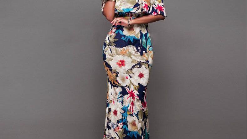 Femme boho maxi robe d'été hors épaule à volants imprimé Robes longues dos nu