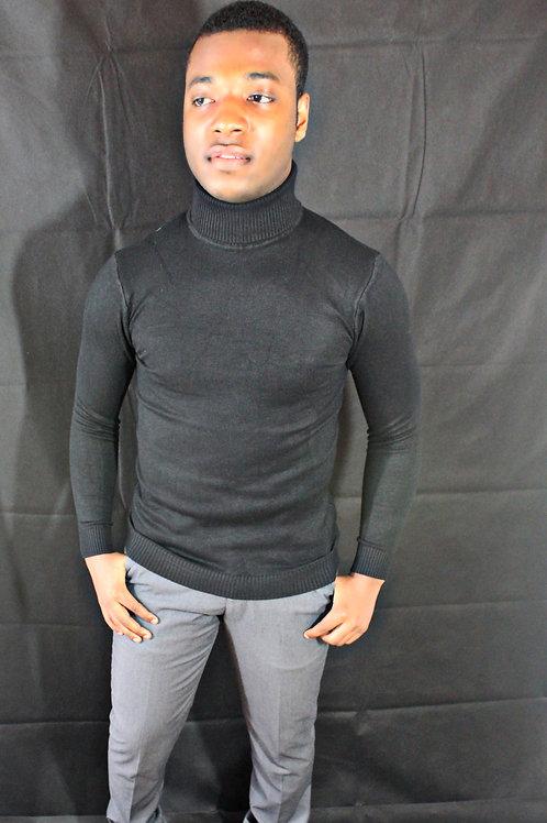 Hiver hommes col haut long chandails tricotés hauts solide