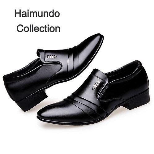 Marque de luxe en cuir PU mode hommes  d'affaires pointus chaussures Oxford