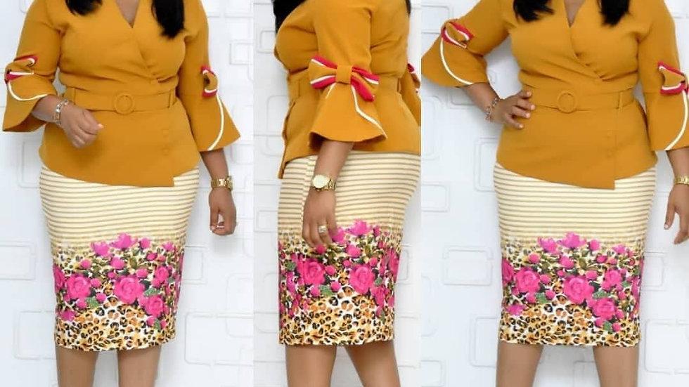 Robe Femme Africa Dame col V/ Robe printemps-Automne