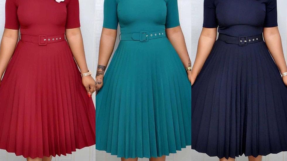 Robe plissée été 2020/ Femmes décontractée/ Robe à manches courtes