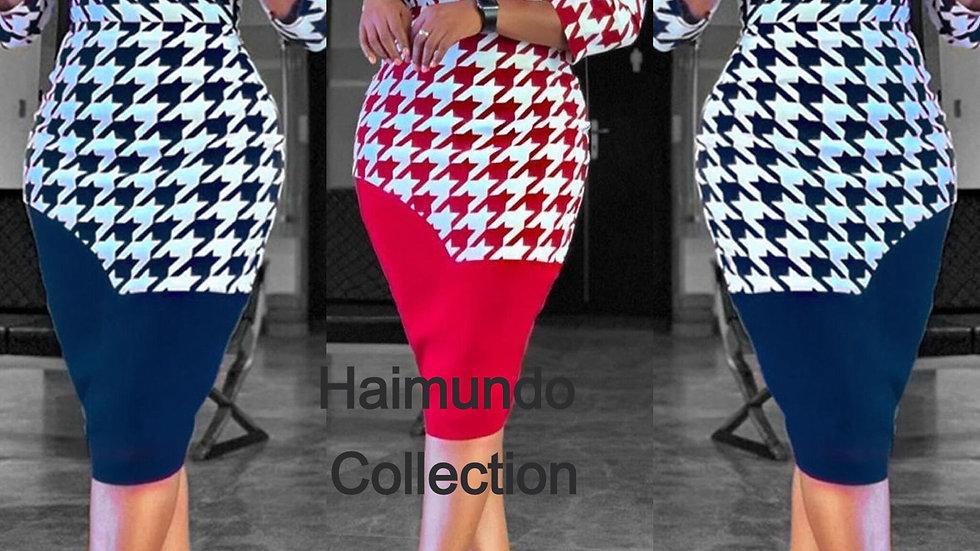 Robes imprimées à manches longues moulante crayon élégant dame chic femmes