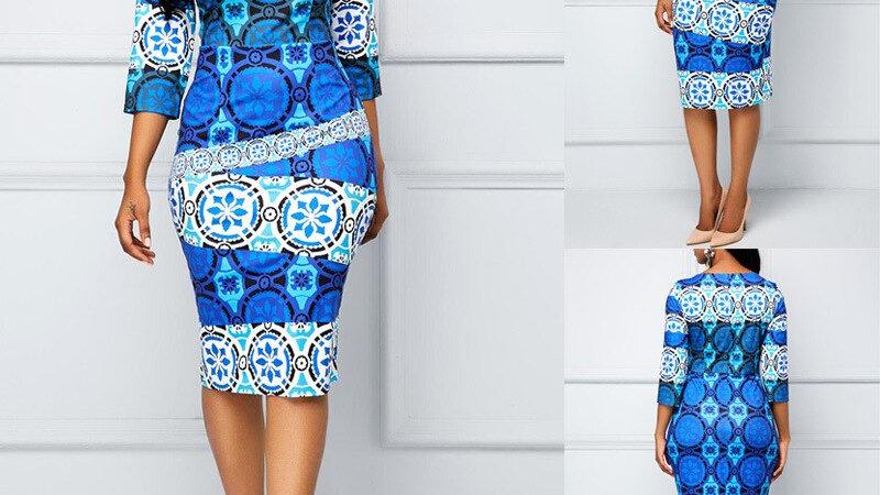 Robe imprimée de mode femmes gaine printemps été robe moulante