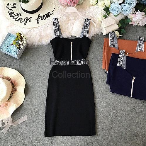 Mode coréenne col en V sans manches tricot mini robe