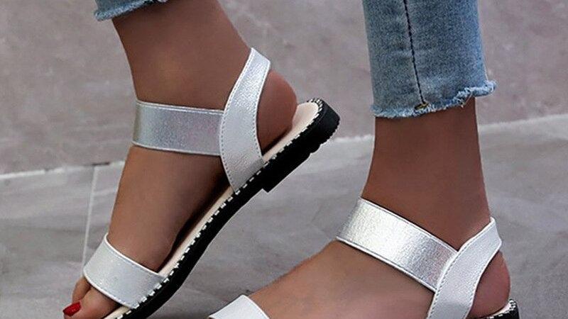 Été femmes sandales femme bande élastique appartements sandales dames mode