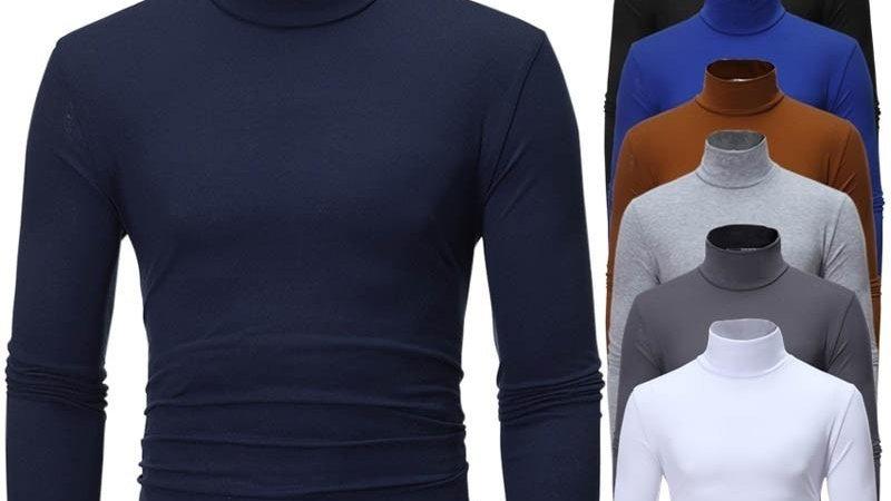 2020 nouveaux hommes couleur unie col roulé t-shirts homme à manches longues