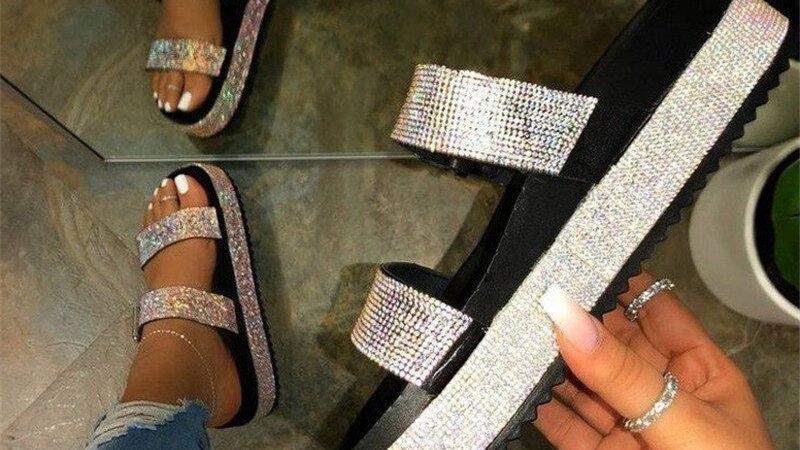 2020 loisirs femmes sandales de plage été dames tongs plat diamant plate-forme