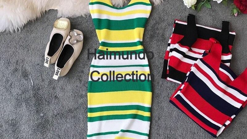 Sexy rayé tricotée été mode couleur sans manches col en v moulante  élégantes