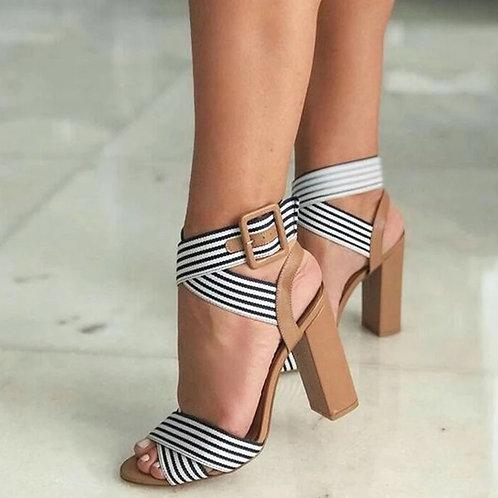 Été femmes sandales bride à la cheville talons hauts chaussures à bout ouvert