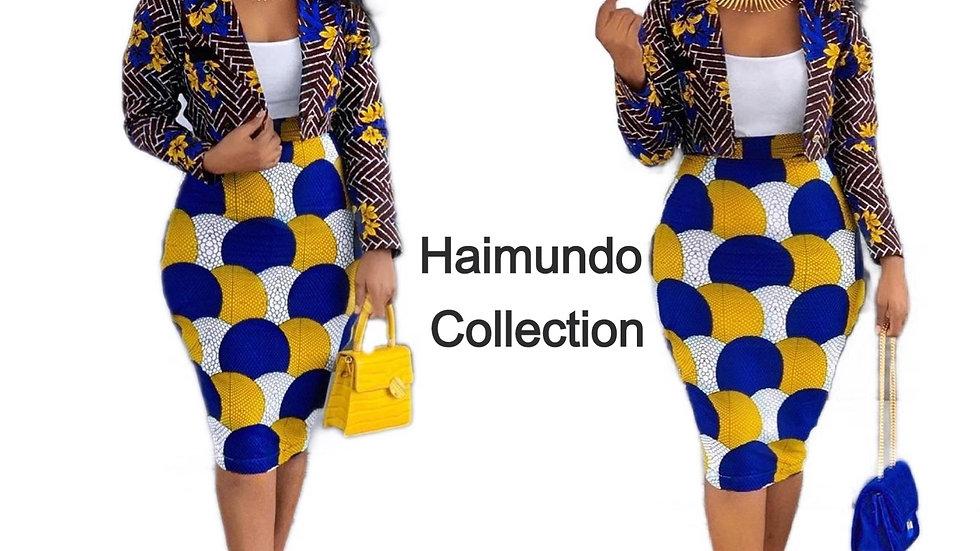 2 pièces femmes ensemble à manches longues haut court costumes jupe mi-longue