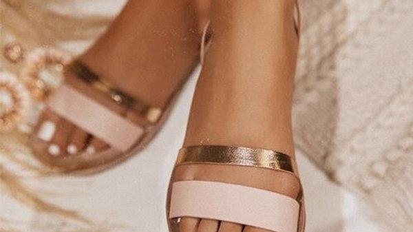 Femmes sandales en cuir  été imprimé dames bande étroite plate femme boucle