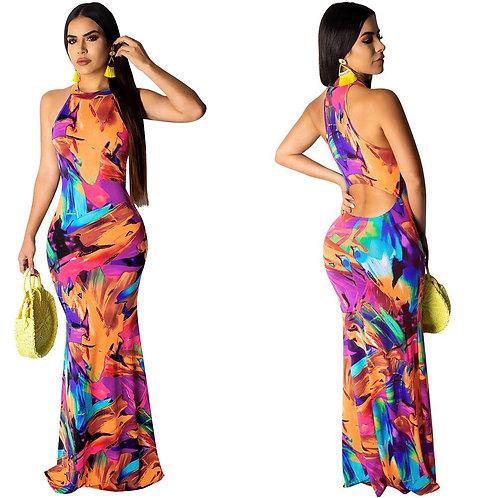 Femmes élégantes boho imprimé floral licou/ robes de soirée décontracté