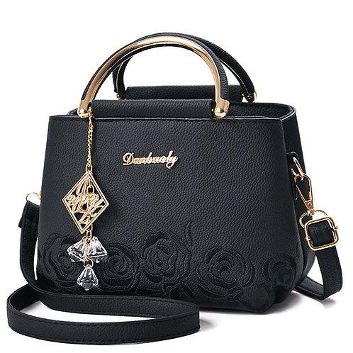 Femmes sac en cuir sac à main femmes fleur brodé