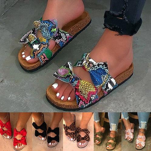 2020 Femmes sandales chaussures été sandales plates avec noeud papillon confort