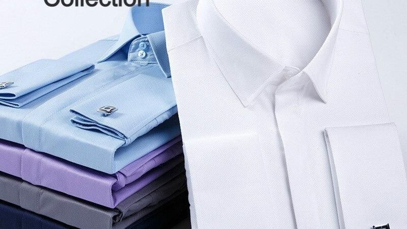 Qualité hommes boutons de manchette français chemise à manches longues